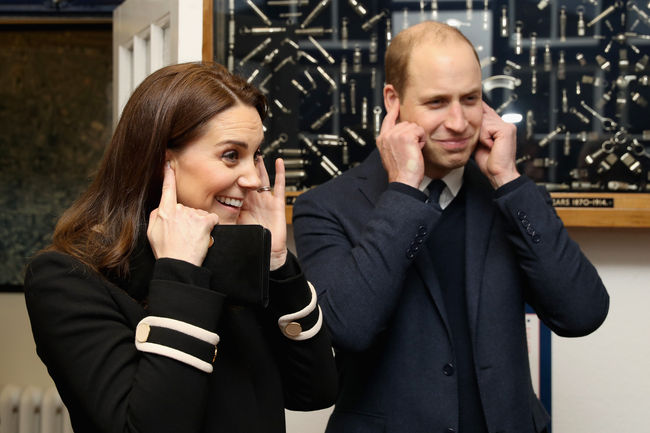 Prince William, Duke of Cambrige and Catherine, Duchess of Cambridge visit Acme Whistles in Birmingham on November 22, 2017 in Birmingham, England.