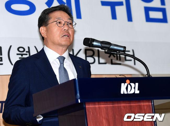 """9대 총재 이정대 KBL 총재 취임…""""농구 잘 몰라, 소통할 것"""""""