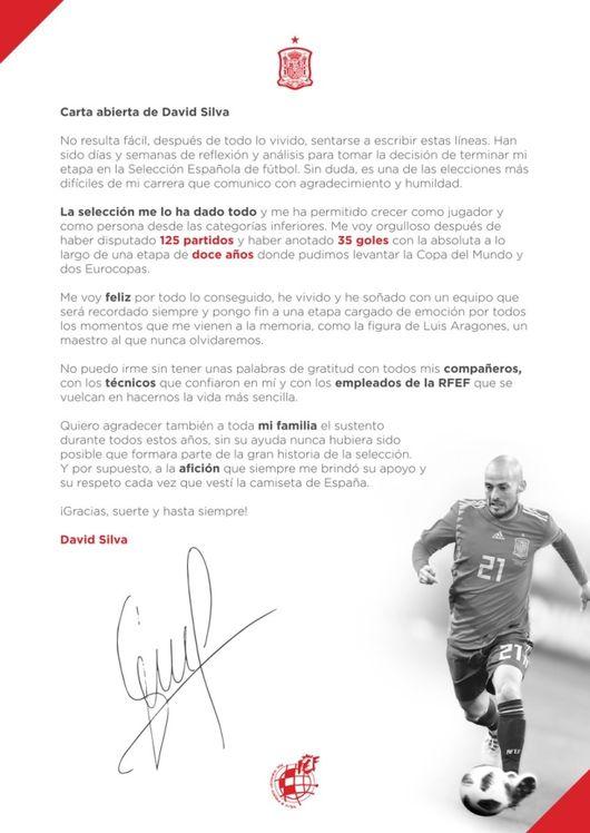 다비드 실바, 스페인 대표팀 은퇴