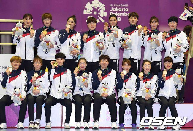 [사진]한국 여자 핸드볼,AG 금메달은 우리의 것