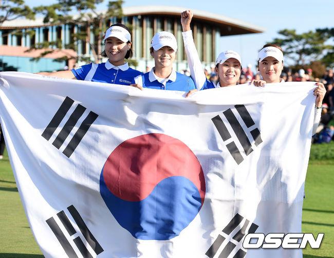[사진]전인지-박성현-김인경-유소연,LPGA 우승 트로피 차지