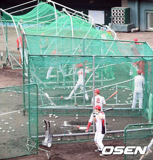 [사진]마무리캠프 타격훈련하는 SK 선수들