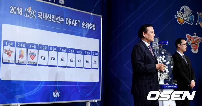 [사진]2018 국내신인드래프트 추첨식 진행하는 김동광 KBL 경기본부장