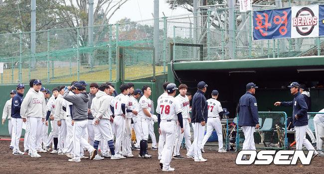 [사진]두산,마무리캠프 첫 연습경기 아쉬운 패