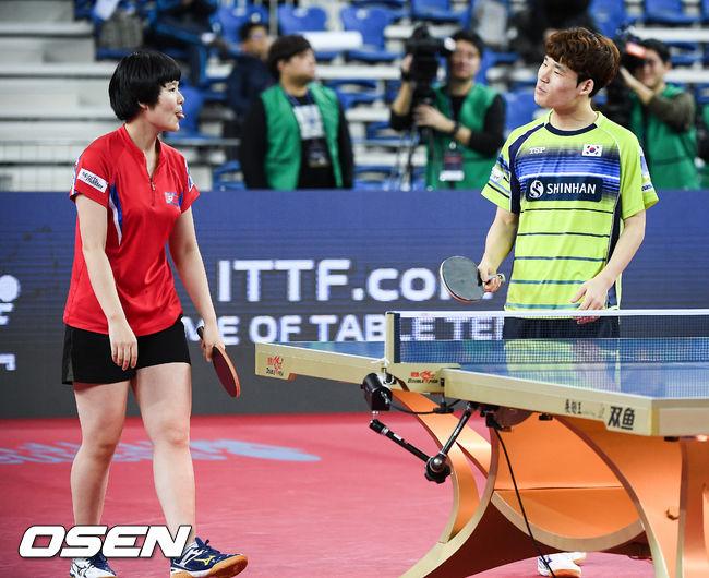 [사진]차효심-장우진,단일팀-한국팀 대결 쉽지 않네