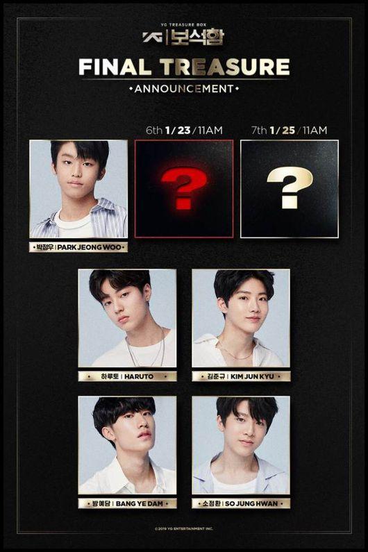 YG보석함, 여섯 번째 멤버 내일(23일) 오전 11시 공개..두자리 남았다