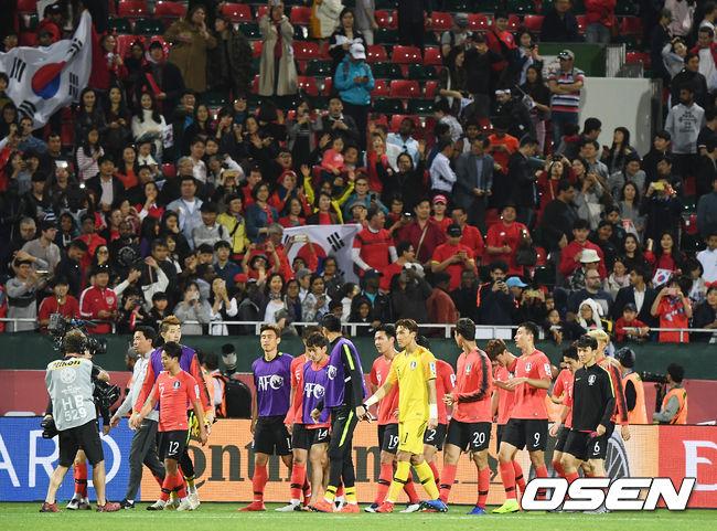 [사진]축구대표팀,붉은 악마들 응원 덕분에 승리했어요