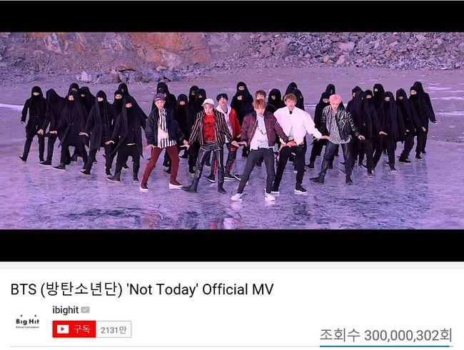 방탄소년단, 'Not Today' 뮤비 3억뷰 돌파..9번째 3억뷰 한국가수 최다[공식입장]