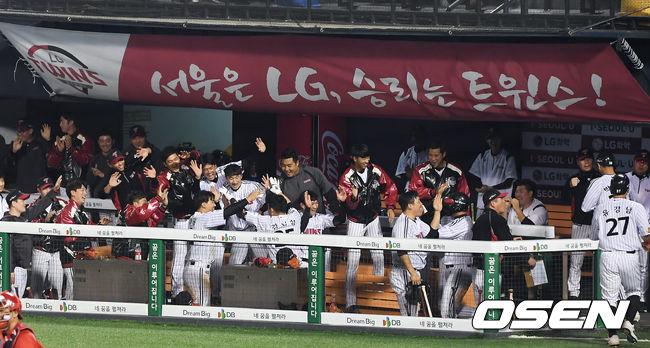 [사진]LG,김민성의 그랜드슬램 빅이닝 완성