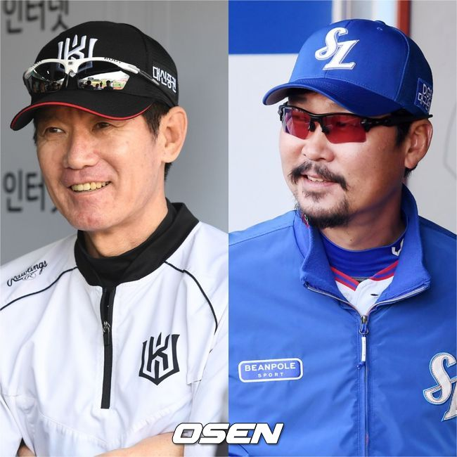 KT 이강철 감독(왼쪽)-삼성 김한수 감독. /OSEN DB