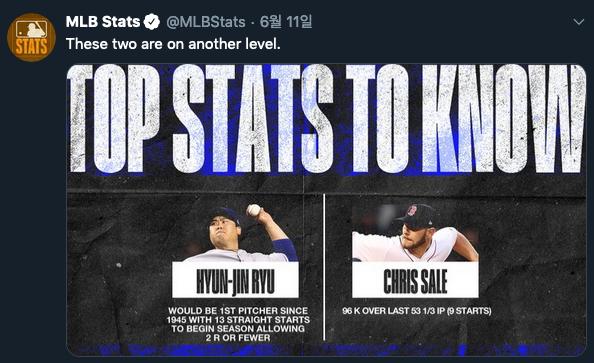 [사진] 류현진과 크리스 세일의 기록을 조명한 MLB STATS 캡처.