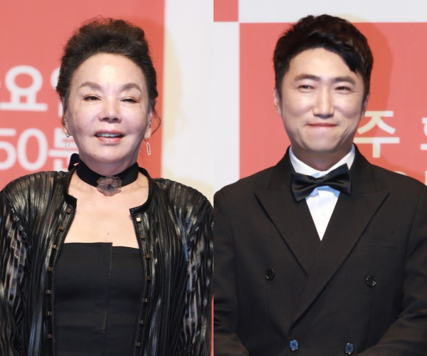 [사진=MBN 제공] '최고의 한방' 제작발표회에 참석한 배우 김수미(왼쪽)와 코미디언 장동민