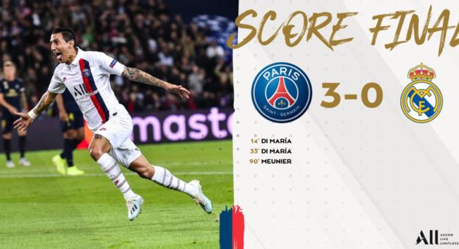 디 마리아 멀티골 PSG, 레알 3-0 완파