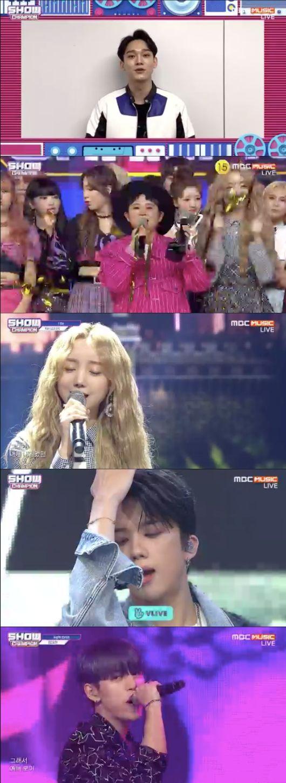 [사진=MBC뮤직 방송화면] '쇼 챔피언'에서 엑소 첸이 출연 없이도 10월 셋째주 1위를 차지했다.