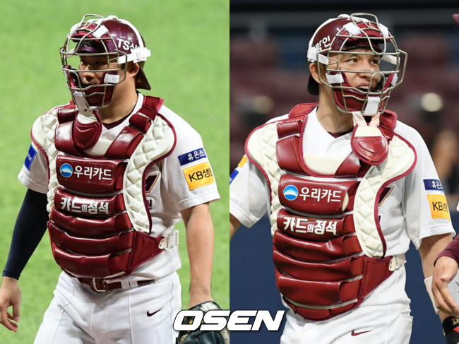 키움 히어로즈 이지영(왼쪽), 박동원.