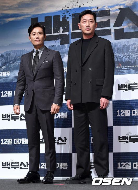 [OSEN=이대선 기자] 19일 오전 서울 강남구 압구정 CGV에서 영화 '백두산' 제작보고회가 열렸다.