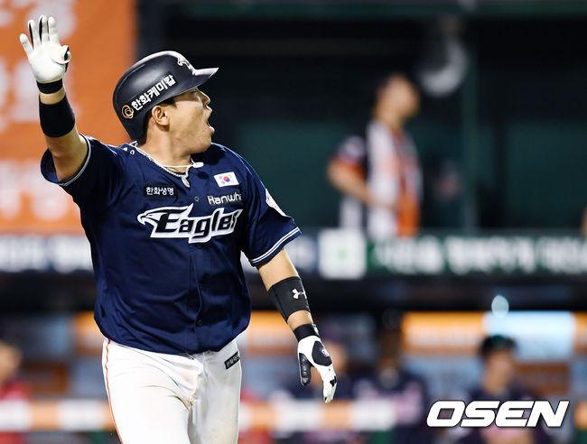 지난해 6월30일 대전 롯데전에서 한화 지성준이 끝내기 스리런 홈런을 터뜨린 후 환호하고 있다. /OSEN DB