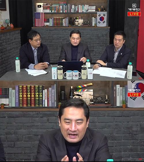 [사진=유튜브 화면] 강용석(가운데)이 가로세로연구소를 통해 김건모의 성폭행 의혹을 제기했다.