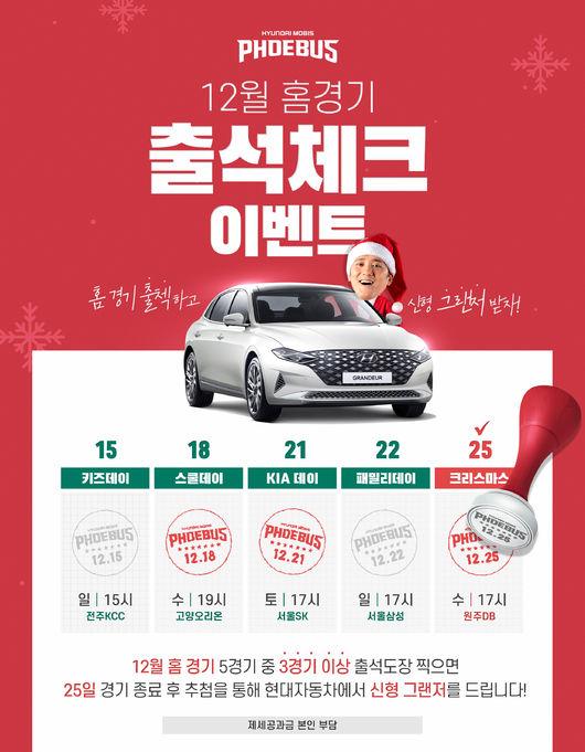 울산 현대모비스, 크리스마스 5연전에 고급 승용차 쏜다