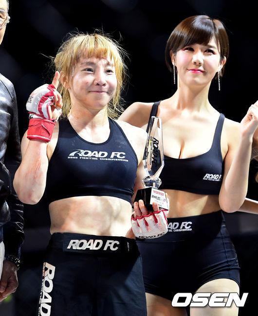 [사진]홍윤하, 승리뒤 미소