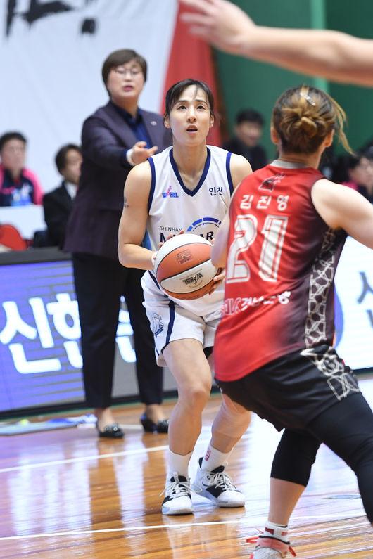 김단비-스미스 더블더블 신한은행, BNK꺾고 3연패 마감 공동 3위 점프