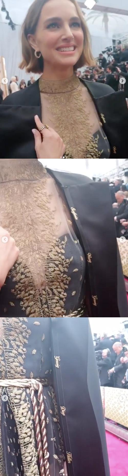 나탈리 포트만, 아카데미 드레스에 女감독들 이름 새겼다..자비에 돌란 '좋아요♥