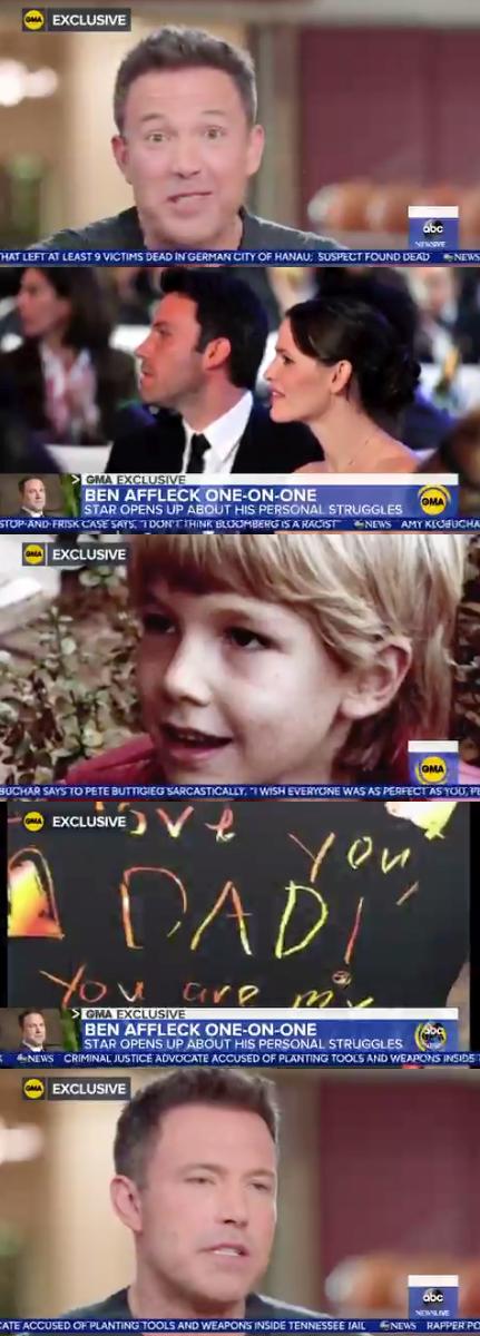 벤 애플렉, 이혼한 제니퍼 가너 위해 방송서 영상편지 이혼=실수(종합)[Oh!llywood]