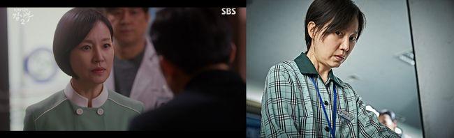 [사진=SBS 제공, 영화 스틸컷] 배우 진경이 '낭만닥터 김사부 2(왼쪽)'와 영화 '지푸라기라도 잡고 싶은 짐승들'에서 맹활약 중이다.