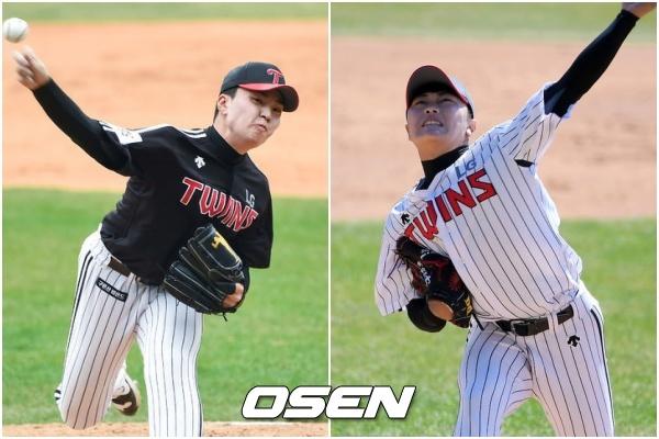 [사진] LG 신인 투수 이민호(왼쪽)와 김윤식
