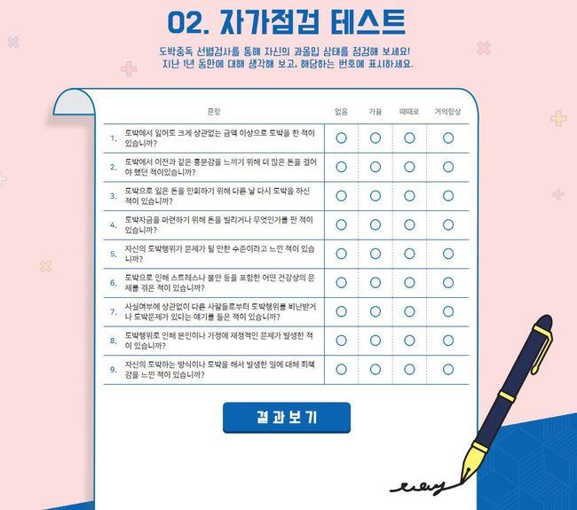 [사진] 베트맨, 도박중독예방 캠페인 자가점검 테스트 페이지