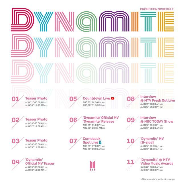 방탄소년단, 새 싱글 Dynamite 무대 MTV VMA'서 첫 공개..프로모션 스케줄 공개[공식]