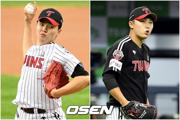 [사진] LG 신인 투수 이민호(왼쪽)와 김윤식.