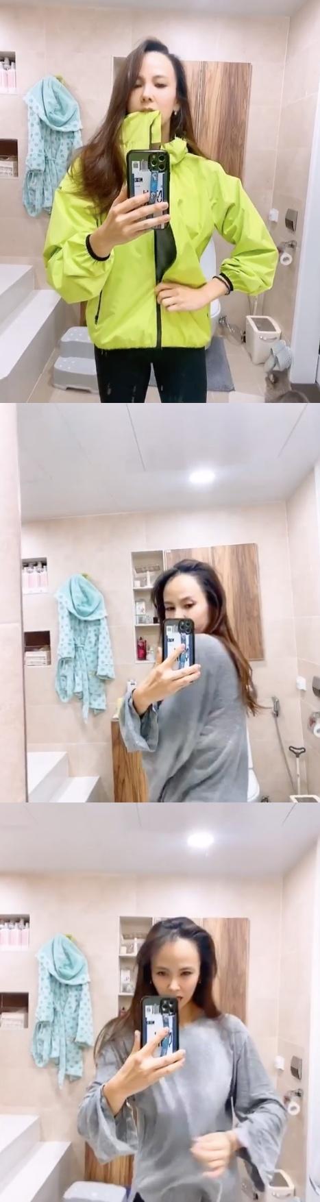 레이먼 킴♥ 김지우, 아침부터 운동 삼매경 땀 흥건 감탄 관리의 여왕 [★SHOT!]