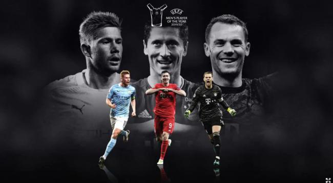 UEFA, 올해의 선수상 후보 KDB-레반도프스키-노이어 선정...호날두는 10위 [공식발표]
