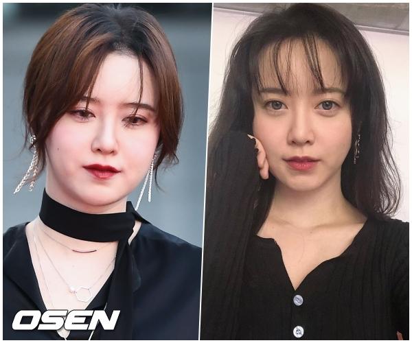 2018년 한 영화제 레드카펫의 모습(왼쪽)과 최근 SNS.