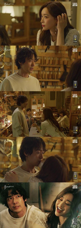 [사진=SBS 방송화면] '불새2020' 첫 방송에서 홍수아, 이재우가 기습 뽀뽀엔딩으로 시청자를 사로잡았다.