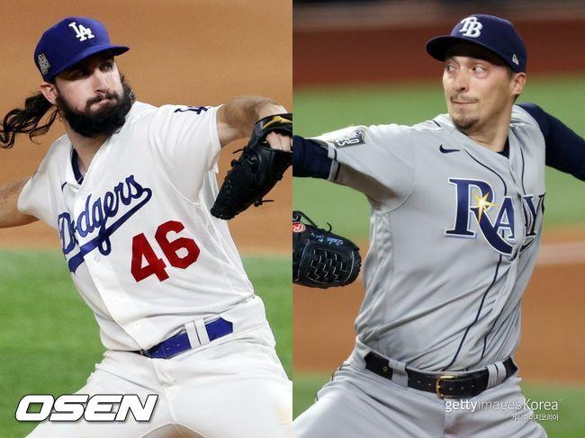 [사진] LA 다저스 토니 곤솔린(왼쪽), 탬파베이 레이스 블레이크 스넬. ⓒGettyimages(무단전재 및 재배포 금지)