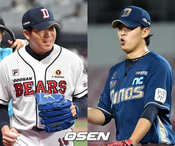 [사진] 두산 김민규(좌)-NC 송명기(우) / OSEN DB