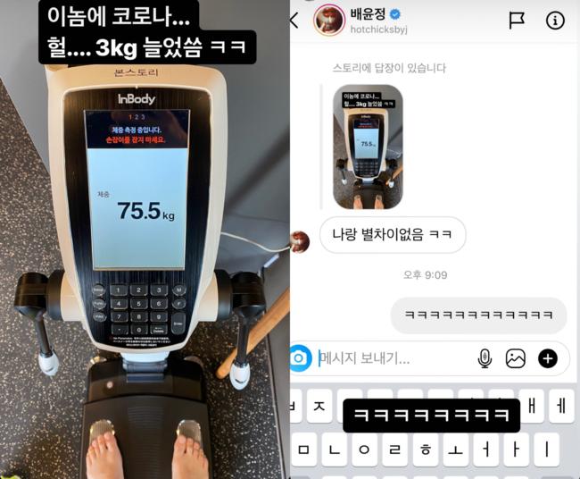 배윤정, 임신 후 70kg대 진입? 75.5kg 김우리에 나랑 별 차이 없음