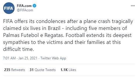 브라질 축구계의 비극, 경비행기 추락으로 구단 회장 및 선수 전원 사망