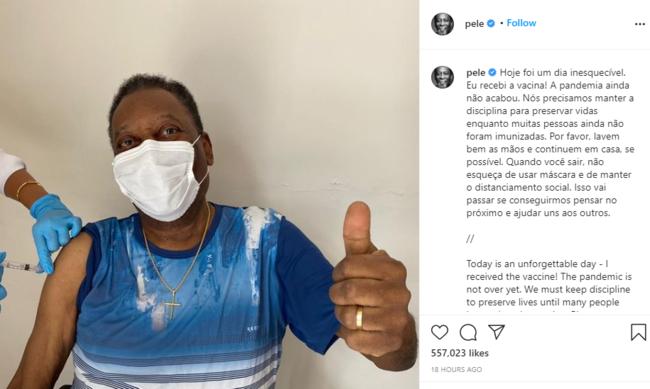 中 언론의 자화자찬, 펠레가 접종한 중국제 백신, 안전성& 효과 증명
