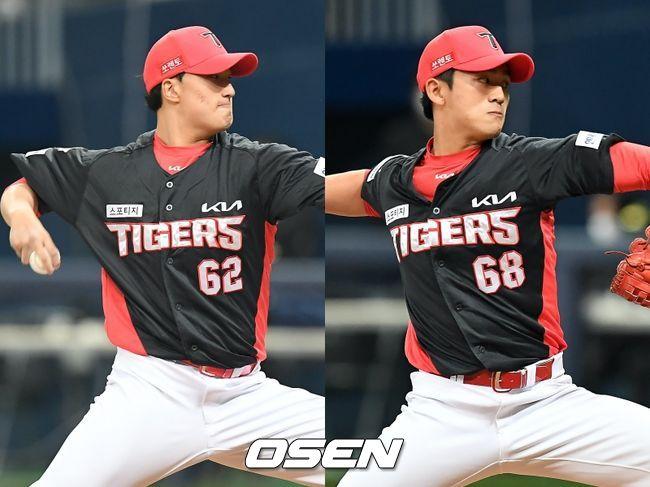 [사진] KIA 타이거즈 정해영(왼쪽), 이승재. / OSEN DB