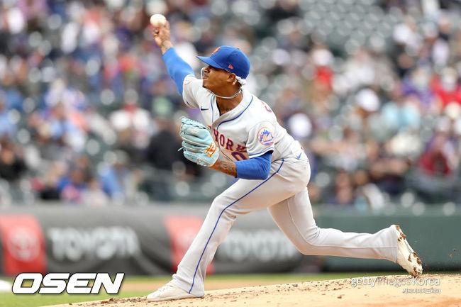 [사진] 뉴욕 메츠의 마커스 스트로먼이 19일(한국시간) 쿠어스필드에서 열린 콜로라도와의 경기에서 힘차게 공을 던지고 있다. ⓒGettyimages(무단전재 및 재배포 금지)