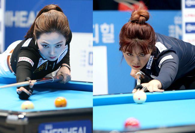 [사진]차유람(왼쪽)과 김가영 /PBA제공