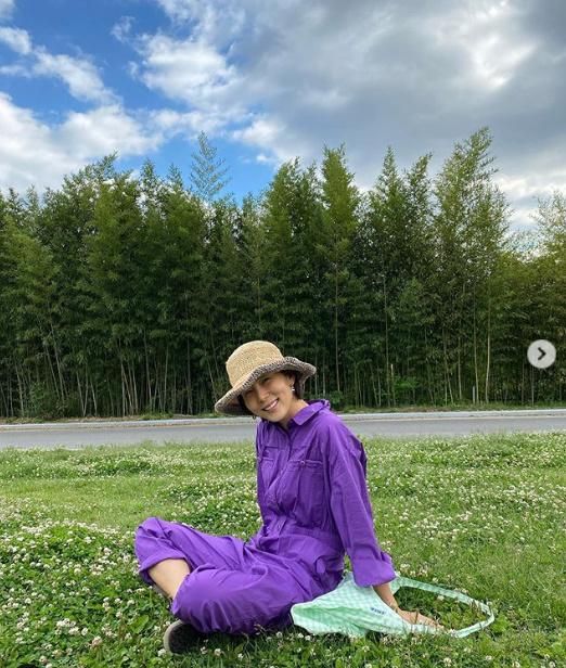 '패션센스 최강' 김나영, 보라색 점프슈트 완벽 소화..아름다운 미소[★SHOT!]