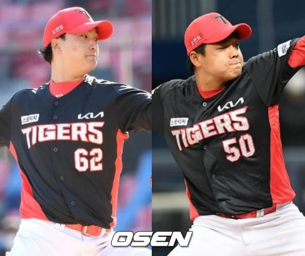 2021 KIA 마무리 정해영과 필승맨 장현식(왼쪽부터)./OSEN DB