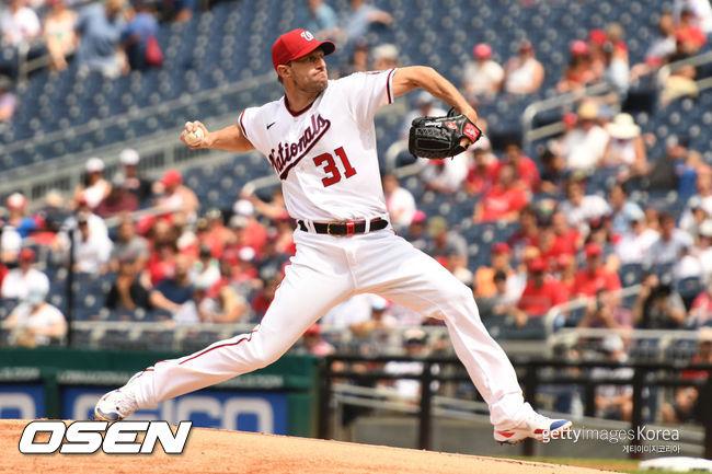 """[사진] MLB.com은 2021년 7월 30일(한국시간) """"워싱턴 '에이스' 슈어저가 곧 샌디에이고로 향할 것이다""""고 알렸다. ⓒGettyimages(무단전재 및 재배포 금지)"""
