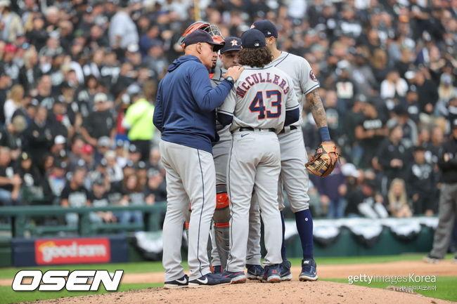 [사진] 휴스턴 선발 맥컬러스는 2021년 10월 13일(한국시간) 화이트삭스전에서 4이닝 1실점 투구를 했다. ⓒGettyimages(무단전재 및 재배포 금지)
