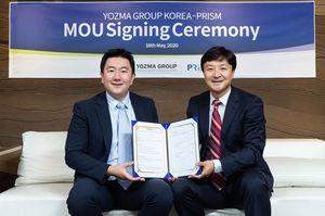 요즈마그룹코리아 이원재 대표(왼쪽)와 프리즘커뮤니케이션 신용노 대표가 18일 서울 강남구 요즈마그룹코리아 본사에서 향후 전략적 홍보마케팅 활동 협력을 업무협약을 맺었다.